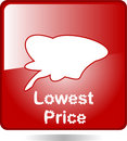 Red web icon lowest price Stock Image