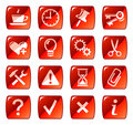 Red web icons / buttons 2 Royalty Free Stock Photo