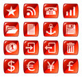 Red web icons / buttons 3 Stock Photos