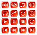 Red web icons / buttons 5 Royalty Free Stock Photo