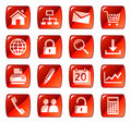 Red web icons / buttons Royalty Free Stock Photo