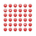 Red web icons set of Stock Photography