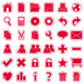 Red Web Stickers Icons [1] Royalty Free Stock Photo