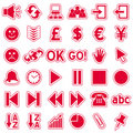 Red Web Stickers Icons [3] Royalty Free Stock Photo
