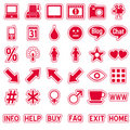 Red Web Stickers Icons [4] Royalty Free Stock Photo