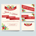 Red wedding invitation pack a set of card with floral and theme file in eps file with no gradient meshes blends opacity stroke Royalty Free Stock Photo
