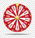 Red Wheel Of Fortune isolated on transparent background. Casino lottery luck game. Win fortune Wheel roulette. Vector Royalty Free Stock Photo