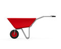 Red wheelbarrow isolated on white background d render Stock Images
