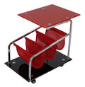 Red wheeled stand and white background Stock Photos