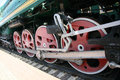 Red wheels locomotive in moscow Stock Photos