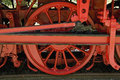 Red wheels of a veteran train Royalty Free Stock Photos