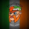Red whiskers head of irishman in cap on irish flag grunge background print street hooligans style Stock Photo
