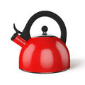 Red whistle kettle isolated on white stovetop whistling background Stock Photography