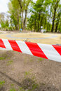 Red and White Barricade Tape Royalty Free Stock Photo