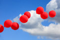 Red, White and Blue Balloons in Sky Royalty Free Stock Photo