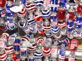 Red, white and blue baubles Stock Images
