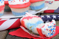 Red White and Blue Cupcakes Royalty Free Stock Photos