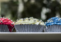 Red, White, and Blue Cupcakes Stock Photography