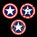 Red, white ,blue and destroy colored shield with a star symbolizing independence of America. Comics shield