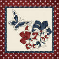 Red, White & Blue Flowers Butterfly Background Stock Photos