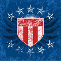 Red White & Blue Grunge Shield Royalty Free Stock Photos