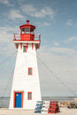 Red white blue lighthouse new brunswick Royalty Free Stock Photography