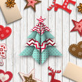 Red, white and blue origami chritmas tree, holiday theme, illustration