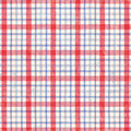 Red White and Blue Plaid Fabric Royalty Free Stock Photography