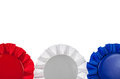 Red white and blue ribbon border bottom of award ribbons isolated on Stock Images