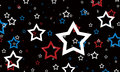 Red white and blue stars on black background. July 4th background. Royalty Free Stock Photo