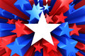 Red white and blue stars d render Royalty Free Stock Photos