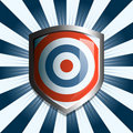 Red white and blue target shield Stock Photo