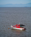 Red and white boat a floating near shore at high tide Royalty Free Stock Photos