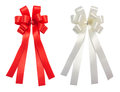 Red and white bow tale glossy ribbon, christmas, reward, prize,