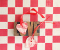 Red and white checks with hearts and love word Royalty Free Stock Photo