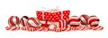 Red and white Christmas border with gifts, baubles and candy Royalty Free Stock Photo