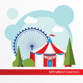 Red and white Circus tent icon in the flat style. Big Top Circus Tents. Concept for city infographic. Royalty Free Stock Photo