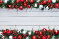 Red and white colorful festive double Xmas border Royalty Free Stock Photo