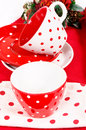 Red and white cups Stock Images
