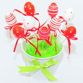 Red and white decorative easter eggs decorations for a traditional holliday Stock Photography