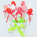 Red and white decorative easter eggs decorations for a traditional holliday Stock Images