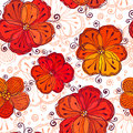 Red and white doodle flowers vector pattern seamless Royalty Free Stock Images