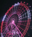 Red and White Ferris Wheel at Night Royalty Free Stock Photo