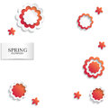 Red and white floral paper background. Spring background with beautiful colorful flower. Vector illustration template.banners.