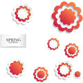 Red and white floral paper background. Spring background with beautiful colorful flower. Vector illustration template.banners.Wall