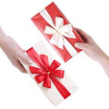 Red and white gift boxes Royalty Free Stock Photography