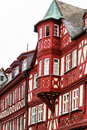 Red and white half-timbered house in Miltenberg, Germany Royalty Free Stock Photo