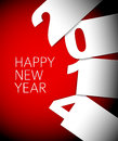 Red and white happy new year vector card with big numbers Royalty Free Stock Photography