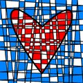 Heart colorful tiled patchwork. Colored plot Royalty Free Stock Photo