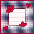 Red and white hearts background over dark blue with thin bars framed copy space Stock Photo